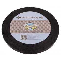 1/2 Inch Heavy Black Nylon Webbing