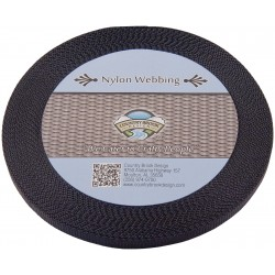 3/8 Inch Black Heavy Nylon Webbing