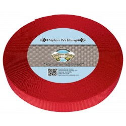 5/8 Inch Bright Red Heavy Nylon Webbing