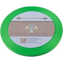 3/8 Inch Hot Lime Green Heavy Nylon Webbing
