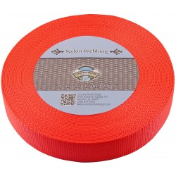 1 1/2 Inch Hot Orange Heavy Nylon Webbing
