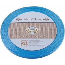 3/8 Inch Ice Blue Heavy Nylon Webbing