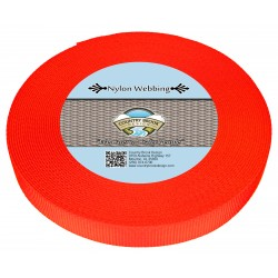 3/4 Inch Neon Orange Heavy Nylon Webbing