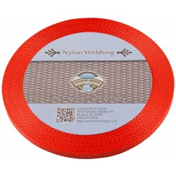 3/8 Inch Neon Orange Heavy Nylon Webbing