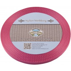 3/8 Inch Rose Heavy Nylon Webbing