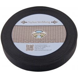 3/4 Inch Black Lite Weight Nylon Webbing