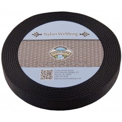 3/4 Inch Black Super Heavy Nylon Webbing