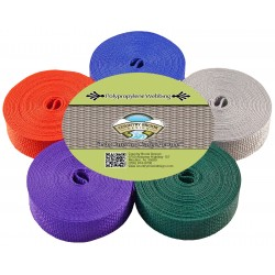 1 Inch Polypro Webbing, 5 Yards of 5 Colors