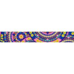 1 1/2 Inch Blue Boho Mandala Polyester Webbing