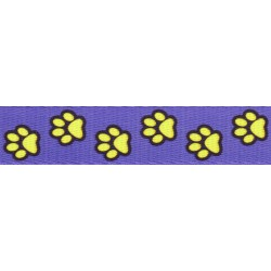 1 Inch Blue Busy Paws Polyester Webbing Closeout, 1 Yard