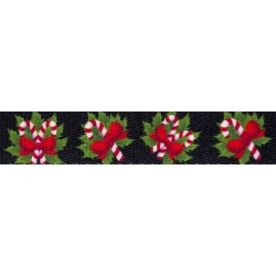 1 Inch Black Candy Cane Polyester Webbing