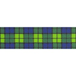 1 Inch Blue and Green Plaid Polyester Webbing