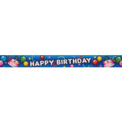 1 Inch Blue Happy Birthday Polyester Webbing