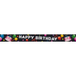 1 Inch Black Happy Birthday Polyester Webbing