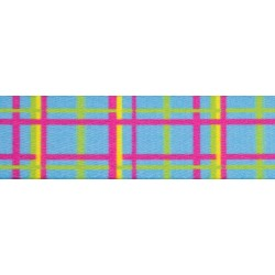 5/8 Inch Spring Blue Plaid Polyester Webbing