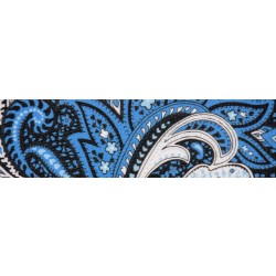 3/4 Inch Blue Paisley Polyester Webbing