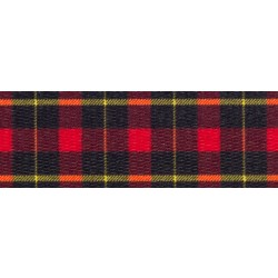 3/4 Inch Black and Red Plaid Polyester Webbing
