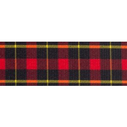 1 1/2 Inch Black and Red Plaid Polyester Webbing