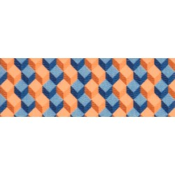 1 Inch Blue and Tangerine Cubes Polyester Webbing Closeout, 1 Yard
