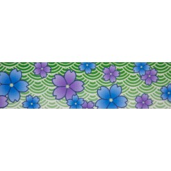 1 1/2 Inch Blue April Blossoms Polyester Webbing