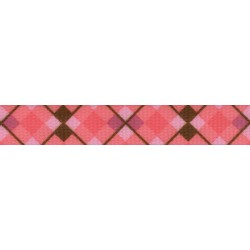 1 Inch Pink and Brown Argyle Polyester Webbing