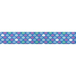 5/8 Inch Mermaid Scales Polyester Webbing
