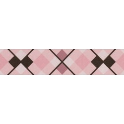 1 1/2 Inch Pink and Brown Argyle Polyester Webbing