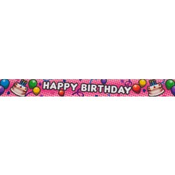 1 Inch Pink Happy Birthday Polyester Webbing