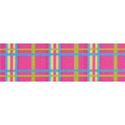 5/8 Inch Spring Pink Plaid Polyester Webbing