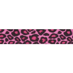 5/8 Inch Pink Leopard Print Polyester Webbing