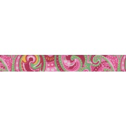 3/4 Inch Pink Paisley Polyester Webbing