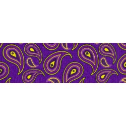 1 1/2 Inch Purple Paisley Polyester Webbing