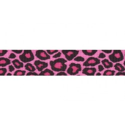 1 Inch Pink Leopard Print Polyester Webbing