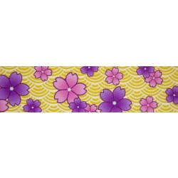 1 1/2 Inch Purple April Blossoms Polyester Webbing