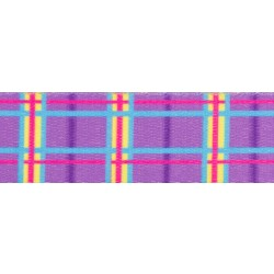 5/8 Inch Spring Purple Plaid Polyester Webbing