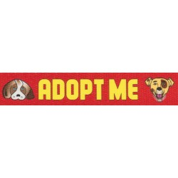 1 Inch Red Adopt Me Polyester Webbing - Closeout