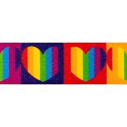 1 Inch Rainbow Hearts Polyester Webbing