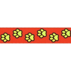 5/8 Inch Red Busy Paws Polyester Webbing Closeout, 5 Yards