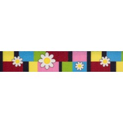 5/8 Inch Spring Daisies Polyester Webbing