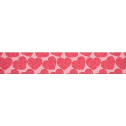 1 Inch Scrolling Hearts Polyester Webbing