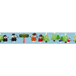 1 1/2 Inch Snowman Party Polyester Webbing