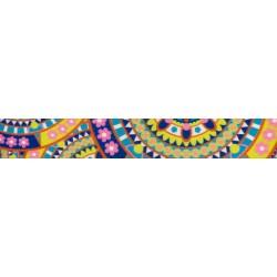 1 1/2 Inch Yellow Boho Mandala Polyester Webbing