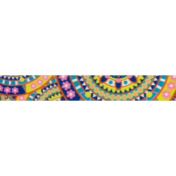 3/4 Inch Yellow Boho Mandala Polyester Webbing