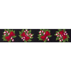 3/4 Inch Black Candy Cane Photo Quality Polyester