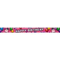 1/2 Inch Pink Happy Birthday Photo Quality Polyester