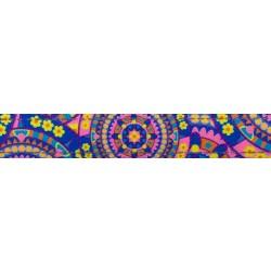 1 Inch Blue Boho Mandala Reflective Polyester Webbing
