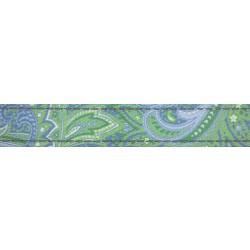 5/8 Inch Green Paisley Reflective Polyester Webbing