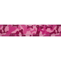 1 Inch Pink Bone Camo Reflective Polyester Webbing