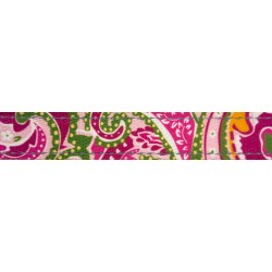 1 Inch Pink Paisley Reflective Polyester Webbing