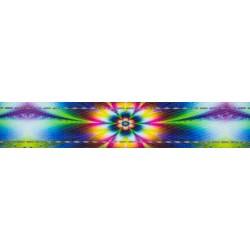5/8 Inch Tie Dye Flowers Reflective Polyester Webbing